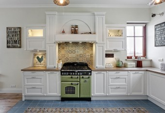 ATLAS Eliza traditional shaker style white kitchen with wooden worktops